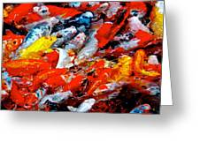 Glittering Of Koi Greeting Card