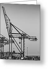 Global Containers Terminal Cargo Freight Cranes Bw Greeting Card