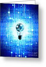 Globe And Light Bulb With Technology Background Greeting Card by Setsiri Silapasuwanchai