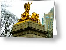 Gloden Maine Statue By Central Park New York Greeting Card