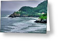 Gloomy Heceta Lighthouse  Greeting Card by Connie Cooper-Edwards