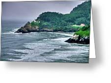 Gloomy Heceta Lighthouse  Greeting Card