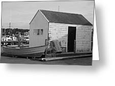 Gloucester Boathouse In Black And White Greeting Card