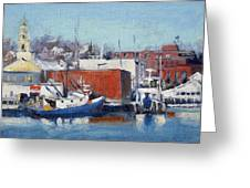 Gloucester Harbor In Winter Greeting Card
