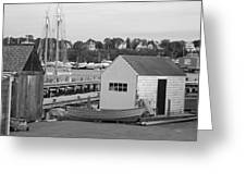 Gloucester Harbor Scene In Black And White Greeting Card