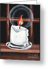 Glowing Candle In Window Greeting Card