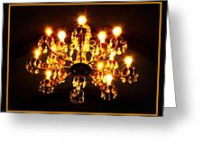 Glowing Chandelier With Border Greeting Card