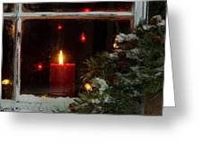 Glowing Christmas Candle In Frosted Home Window Greeting Card