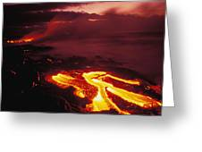 Glowing Lava Flow Greeting Card by Peter French - Printscapes
