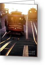 Glowing Magical Cable Cars On Nob Hill Greeting Card