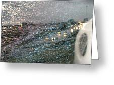 Glowing Raindrops In The City Greeting Card