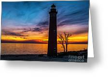 Glowing Sky At Little Sable Greeting Card