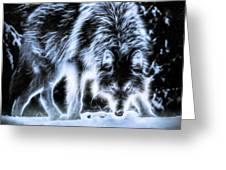 Glowing Wolf In The Gloom Greeting Card