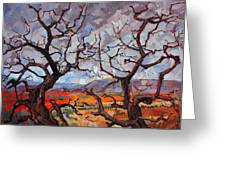 Gnarled Oaks Greeting Card by Erin Hanson