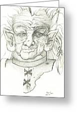 Gnarlsworth Gnome - Black And White Greeting Card