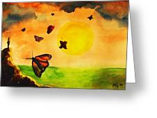 Gnome And Seven Butterflies Greeting Card