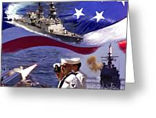 Go Navy Collage Greeting Card