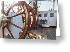 Steering Wheel Of Big Sailing Ship Greeting Card