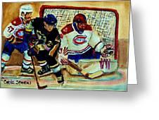 Goalie  And Hockey Art Greeting Card