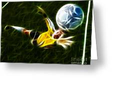 Goalkeeper In Action Greeting Card by Pamela Johnson