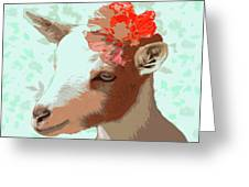 Goat With Flower Greeting Card
