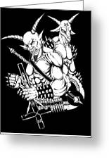 Goatlord And Baphomet Black Greeting Card