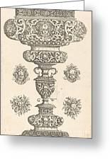 Goblet, Rim Decorated With Masque And Bouquet Of Fruit Greeting Card