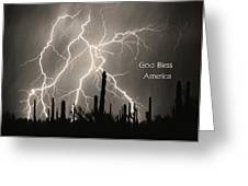 God Bless America Bw Lightning Storm In The Usa Desert Greeting Card by James BO  Insogna