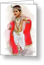 God Krishna Style Watercolor Greeting Card