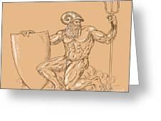 God Neptune Or Poseidon Greeting Card by Aloysius Patrimonio