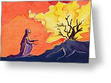 God Speaks To Moses From The Burning Bush Greeting Card