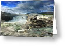 Godafoss Waterfall Iceland Greeting Card