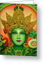 Goddess Green Tara's Face Greeting Card