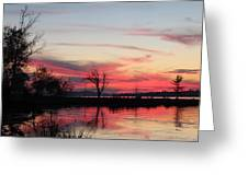 God's Hand On The Lake Greeting Card