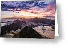 Going Up The Cable Car In Rio De Janeiro Greeting Card