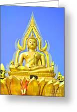 Gold Buddha Statue Greeting Card by Somchai Suppalertporn