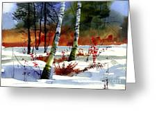 Gold Bushes Watercolor Greeting Card