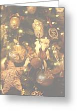 Gold Christmas Tree Decorations Greeting Card