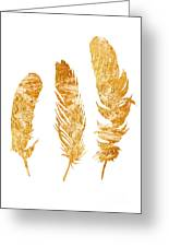 Gold Feathers Watercolor Painting Greeting Card