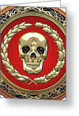 Gold Human Skull Over White Leather  Greeting Card