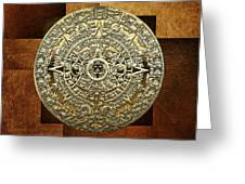 Gold Mayan-aztec Calendar On Brown Leather Greeting Card