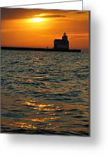 Gold On The Water Greeting Card by Bill Pevlor