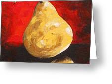 Gold Pear On Red  Greeting Card