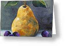 Gold Pear With Grapes II  Greeting Card