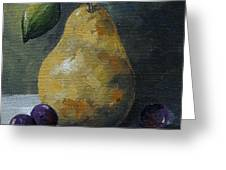 Gold Pear With Grapes  Greeting Card