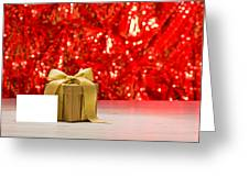 Gold Present With Place Card  Greeting Card