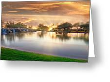 Gold Sunset At The Lake Greeting Card