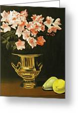 Gold Vase With Fruit Greeting Card