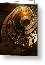 Golden And Brown Spiral Stairs Greeting Card