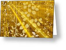 Golden And White Leaves Greeting Card